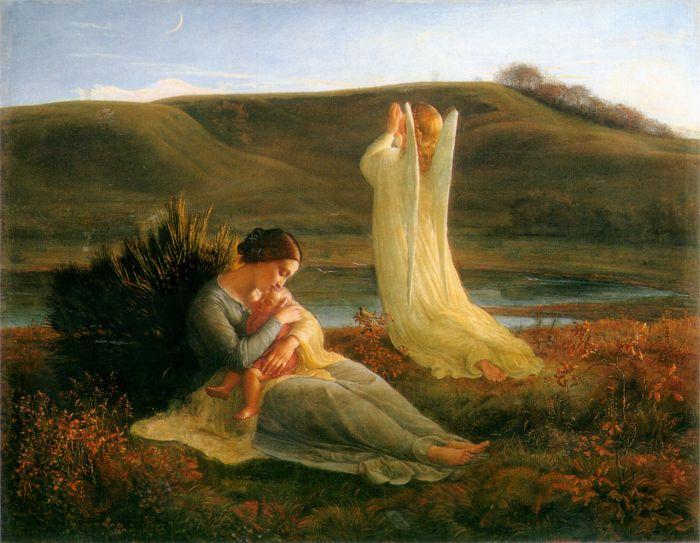 Poème de l'âme 3: L'Ange et la mère by Louis Janmot