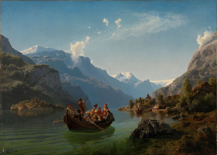 Bridal Procession on the Hardangerfjord (1848) by Adolph Tidemand and Hans Gude