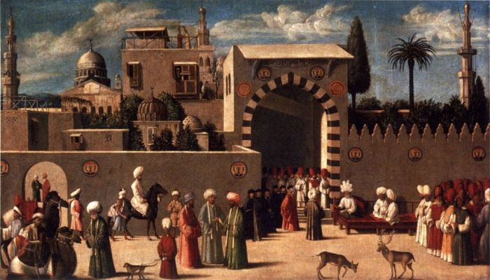 Anonymous Venetian Orientalist painting, The Reception of the Ambassadors in Damascus, 1511, the Louvre. The deer with antlers in the foreground is not known ever to have existed in the wild in Syria.
