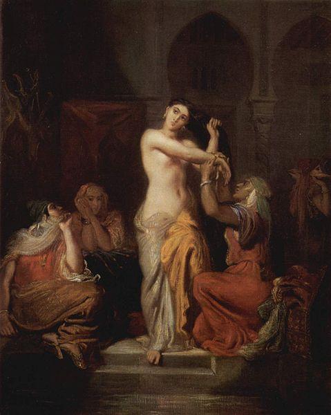 Théodore Chassériau (1819–1856), Scene of the harem, Moorish woman in bath
