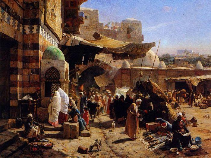 Gustav Bauernfeind: Market at Jaffa, 1877
