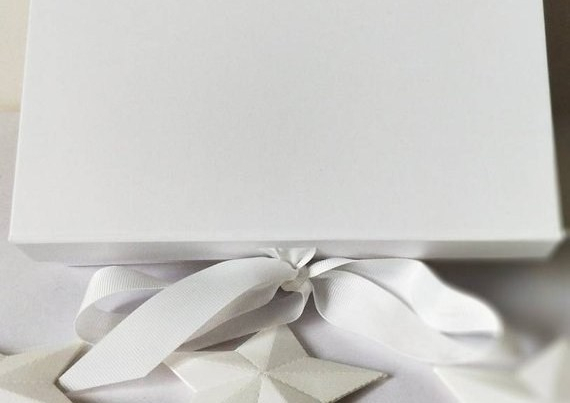 Luxury Gift Box, plain white with white ribbon for you to decorate yourself, ideal Wedding or Christmas