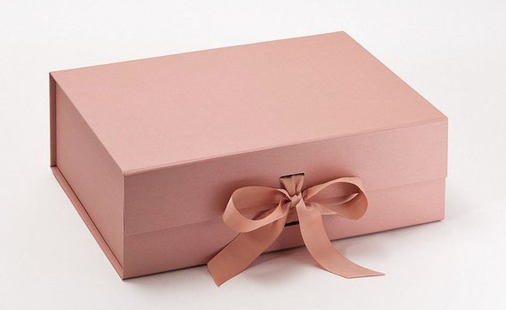 Luxury Rose Gold Box with Ribbon - Pink Gift Box
