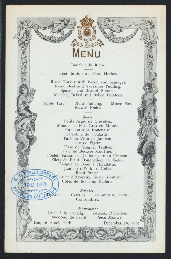 CHRISTMAS VINTAGE DINNER BUFFET MENU FROM EMPIRE HOTEL